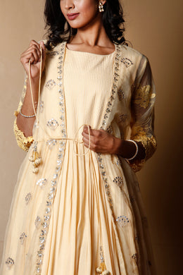 Cotton silk Suit in Yellow color with Aari, Gota Patti, Mirror, Sequins work.