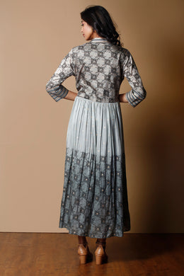 Printed Cotton silk Kurti in Grey color.