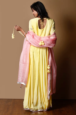 Cotton silk Suit in Yellow color with Gota Patti, Thread, Zardozi work.