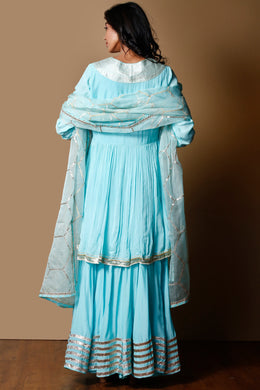 Cotton silk Suit in LightBlue color with Gota Patti, Zari work.