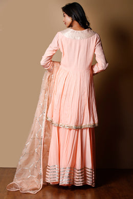 Cotton silk Suit in Peach color with Gota Patti, Zari work.
