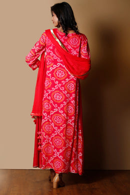 Bandhej Georgette Suit in Red color with Gota Patti, Sequins work.
