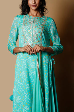 Bandhej Georgette Suit in Light Green color with Gota Patti, Sequins work.