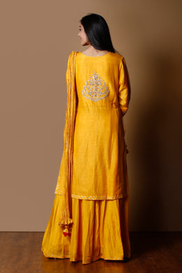 Linen Suit in Yellow color with Sequins, Thread, Zardozi work.