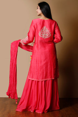 Linen Suit in Pink color with Sequins, Thread, Zardozi work.