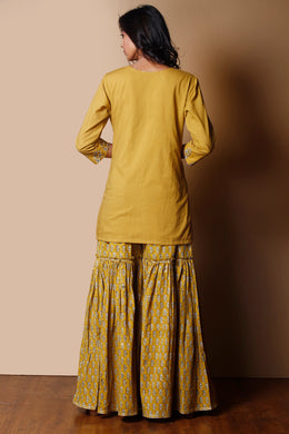 Printed Cotton Suit in Light Green color with Gota Patti, Pearl, Thread work.