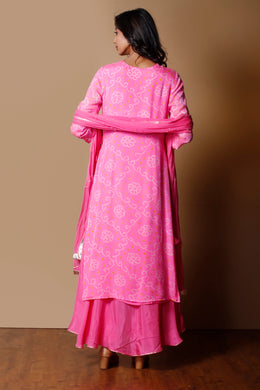 Bandhej Georgette Suit in Pink color with Gota Patti, Zardozi work.