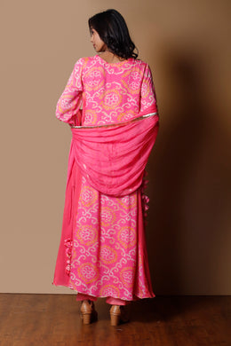 Bandhej Georgette Suit in Pink color with Gota Patti, Sequins work.