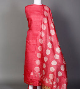 Tussar Unstitched Suit in Red color with Shibori work.