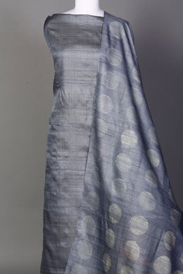 Tussar Unstitched Suit in Grey color with Shibori work.