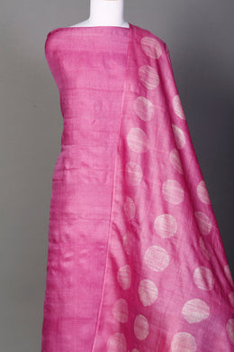 Tussar Unstitched Suit in Pink color with Shibori work.
