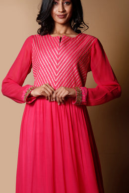 Georgette Kurti in Pink color with Gota, Zari work.