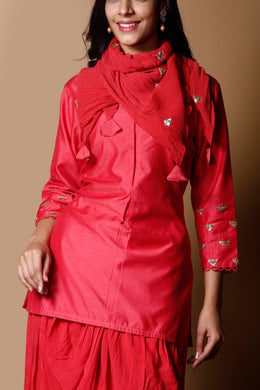 Munga Georgette Suit in Red color with Sequins work.