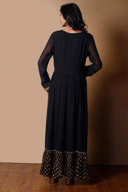 Georgette Kurti in Black color with Dori, Gota work.