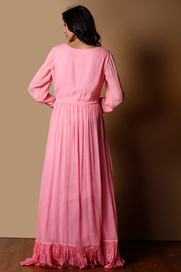 Georgette Kurti in Pink color with Dori, Gota work.