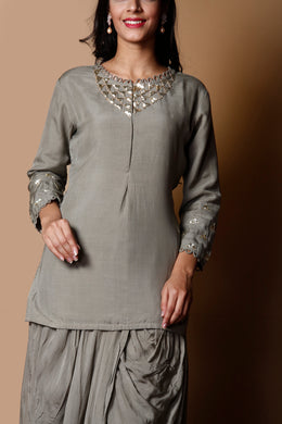 Cotton silk Suit in Grey color with Sequins work.