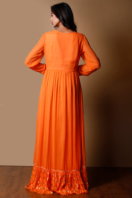 Georgette Kurti in Orange color with Dori, Gota work.