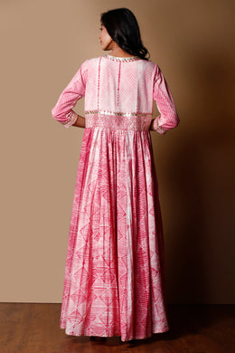 Shibori Cotton Kurti in Pink color with Gota work.
