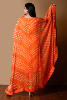 Lehariya chiffon Kurti in Orange color with Sequins work.
