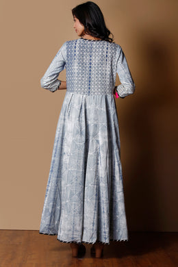 Shibori Cotton Kurti in Grey color with Gota work.