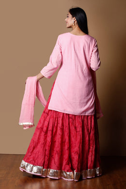 Cotton Dobby Suit in Pink color with Aari, Sequins work.