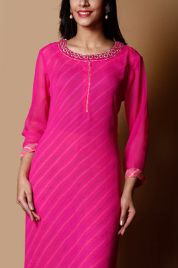 Leheriya Georgette Kurti in Pink color with Stone, Thread work.