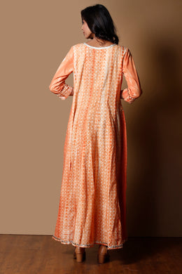Shibori Cotton Kurti in Peach color with Gota work.
