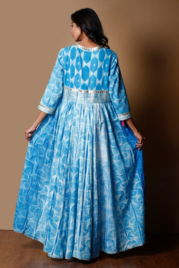 Shibori Cotton Kurti in Light Blue color with Gota work.