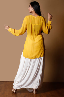 Georgette Indowestern in Yellow color with Cutdana work.