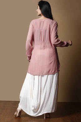 Georgette Indowestern in Pink color with Cutdana work.