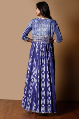 Shibori Cotton Kurti in Dark Blue color with Gota work.