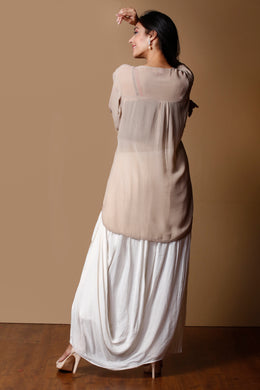 Georgette Indowestern in Cream color with Cutdana work.