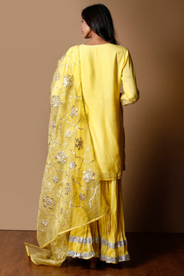 Cotton silk Suit in Yellow color with Gota work.
