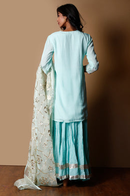 Cotton silk Suit in Light Blue color with Gota work.