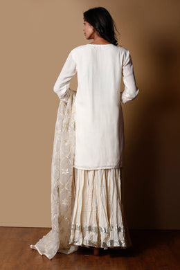 Cotton silk Suit in Cream color with Gota work.