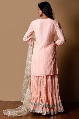 Cotton silk Suit in Peach color with Gota work.