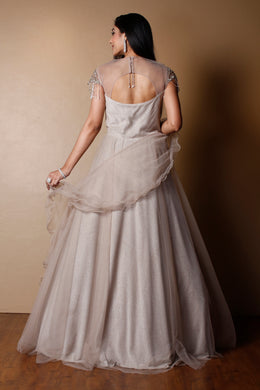 Net Gown in Grey color with Pearl, Sequins, Stone work.