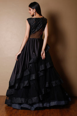 Satin Gown in Black color with Sequins work.
