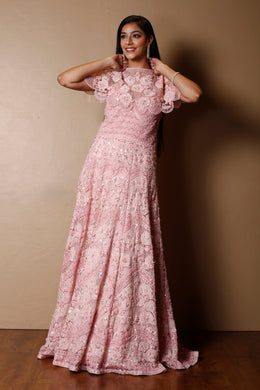 Net Gown in Pink color with Applique Work, Pearl, Sequins, Thread work.