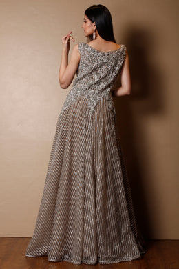 Net Gown in Grey color with Stone, Zardozi work.