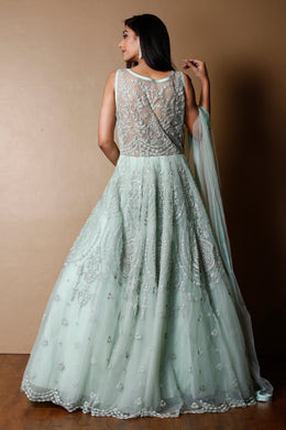 Net Gown in LightGreen color with Stone, Thread work.