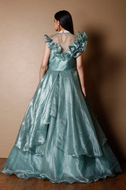 Organza shimmer Gown in Dark Green color with Cutdana, Sequins, Stone work.