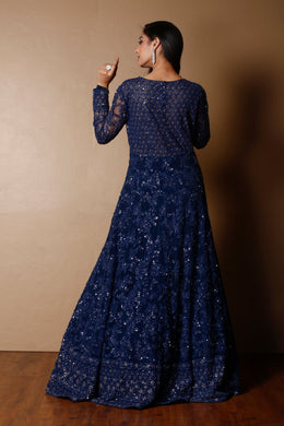 Net Gown in Dark Blue color with Pearl, Sequins, Thread, Zardozi work.