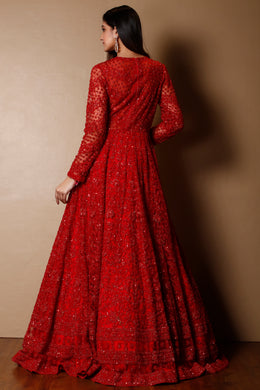 Net Gown in Red color with Cutdana, Sequins, Thread work.