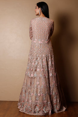 Net Gown in Peach color with Pearl, Sequins, Thread work.