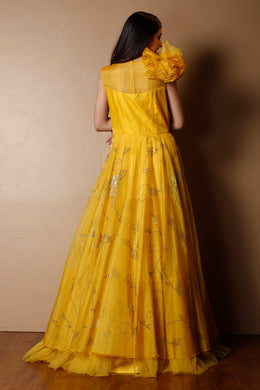 Organza Gown in Yellow color with Sequins, Swarovski work.