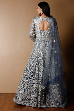 Net Gown in Grey color with Sequins, Stone, Zari work.