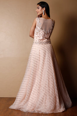 Net Gown in Peach color with Cutdana, Sequins, Stone work.