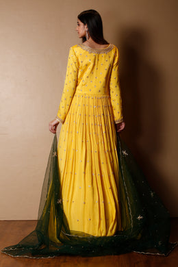 Chinon Gown in Yellow color with Sequins, Zardozi work.