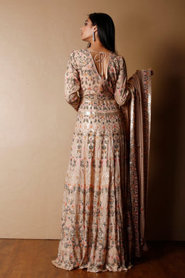 Georgette Gown in Cream color with Sequins, Thread work.